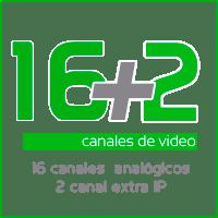 grabador de camaras de videovigilancia 16 canales analógicos mas 2 ip
