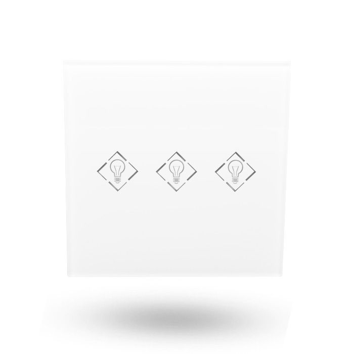triple interruptor para domótica frontal