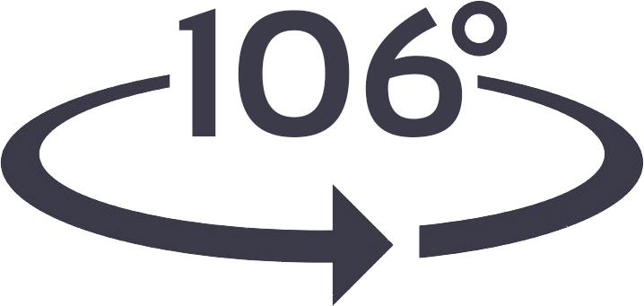 gran ángulo de 106º