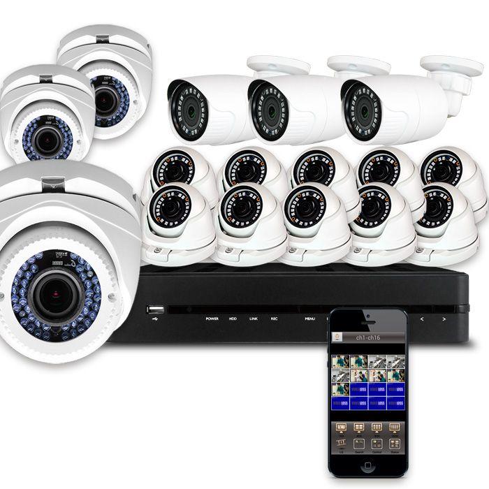 Kit hiper 16 c maras de vigilancia exterior e interior full hd for Camara vigilancia exterior
