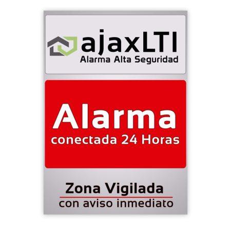 cartel disuasorio de sistema de alarma ajax