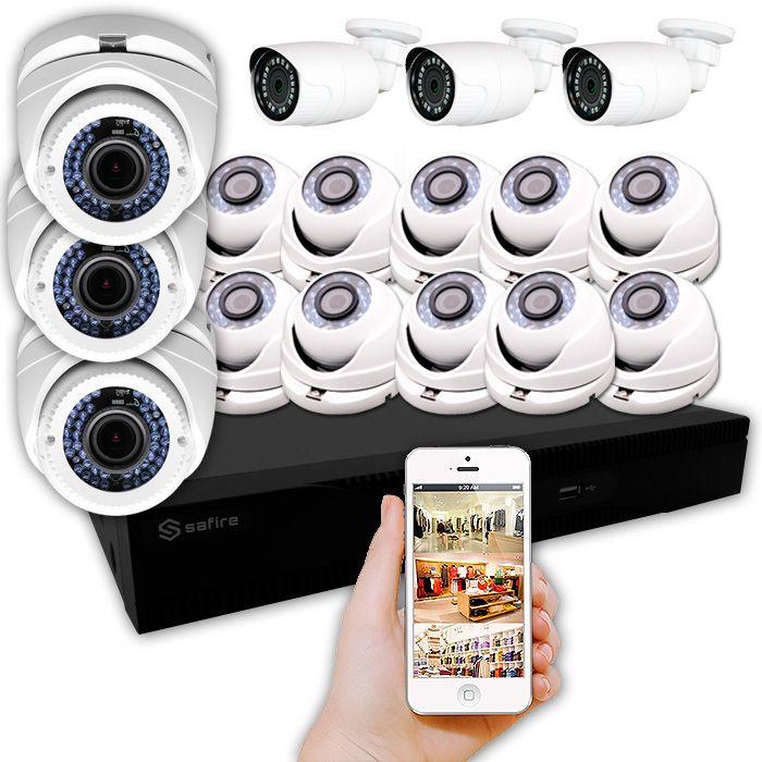 KIT HIPER con 16 cámaras de vigilancia exterior e interior FULL HD