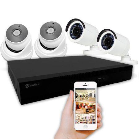 KiT 4 cámaras PoC sin enchufes cerca y grabador con alarma