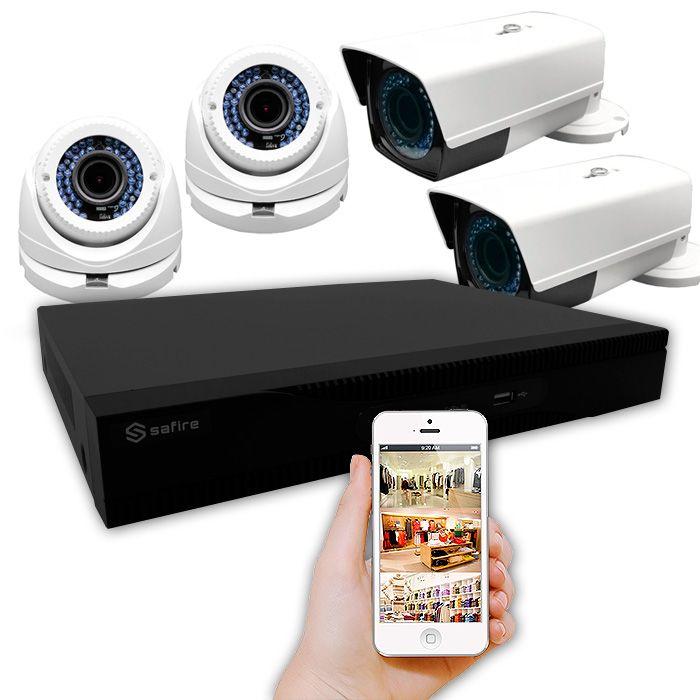 KiT 4 cámaras tecnología poc varifocal sin enchufes cerca y grabador con alarma