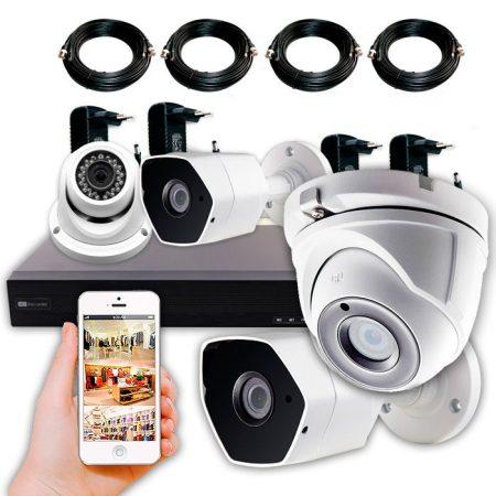 KIT TIENDA - Kit CCTV 4 cámaras de 5 Megapíxeles con grabador