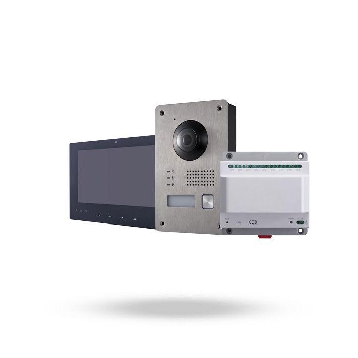 videoportero kit completo safire 2 hilos con monitor, hub y placa para exterior lente fisheye acceso remoto desde app o pc