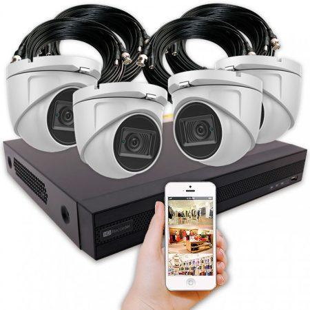 Cámaras de seguridad para negocios con 4 cámaras 4K tipo domo y grabador con alarma y disco duro – KIT BAR