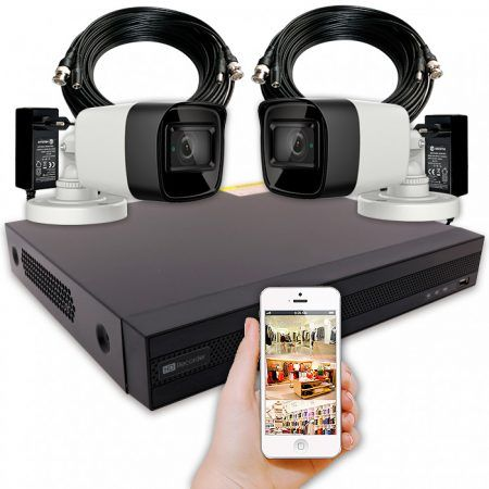 KIT UNIFAMILIAR - Sistema de videovigilancia en casa con 2 cámaras 4K de exterior y grabador con alarma y disco duro