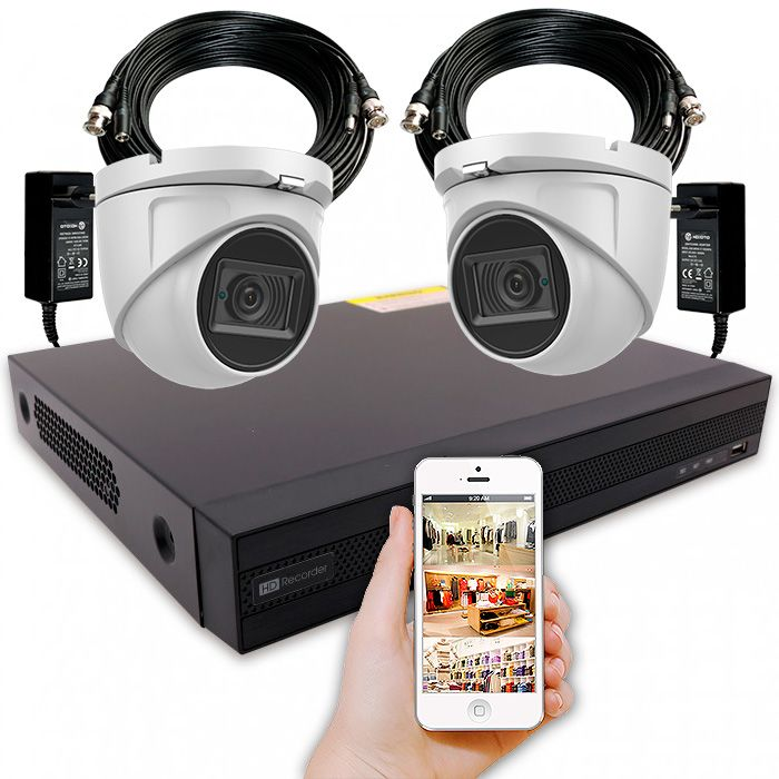 Kit cámaras de seguridad con 2 domos 4K y grabador con alarma y disco duro – KIT LOCAL