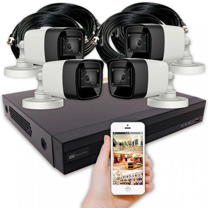 Kit cámaras de vigilancia exterior con 4 bullet 4K IP67 y grabador con alarma y disco duro – KIT PERIMETRAL