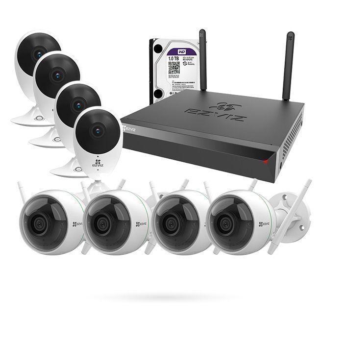 Kit videovigilancia 8 cámaras EZVIZ WiFi para Interior y Exterior con Grabador y disco duro