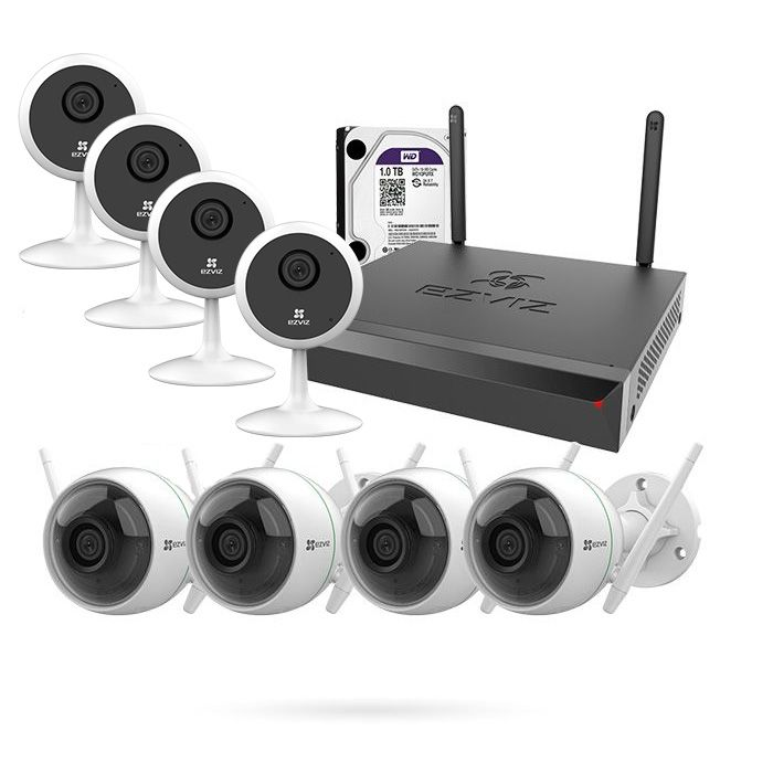 Kit Cámaras de Vigilancia Wifi con Grabador + 4 C1C PIR EZVIZ + 4 c3wn