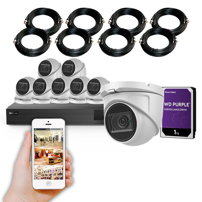 Kit 8 cámaras de seguridad 4K y grabador con disco duro KIT AUTOSERVICIO