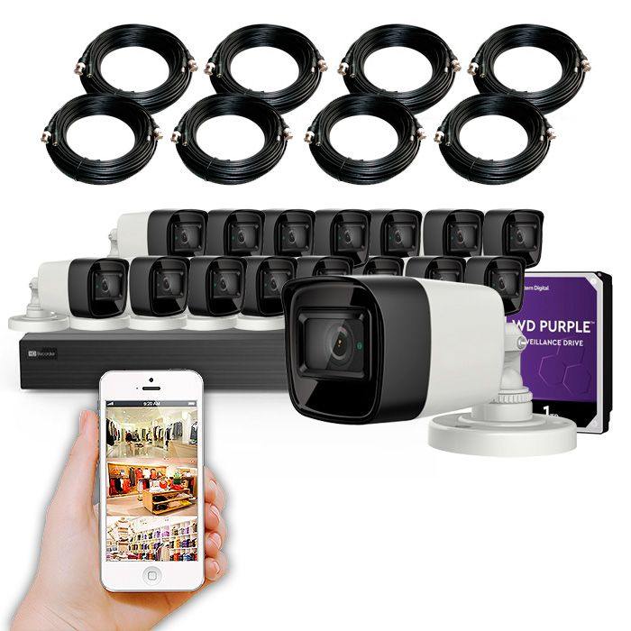 Kit de videovigilancia 16 cámaras 4K y grabador con disco duro KIT GRAN ALMACÉN